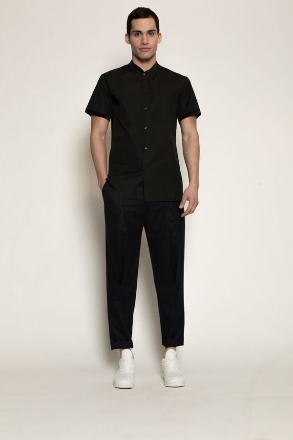 Men's Kenneth Ning Pleated Grosgrain Rib Baseball Shirt in Black