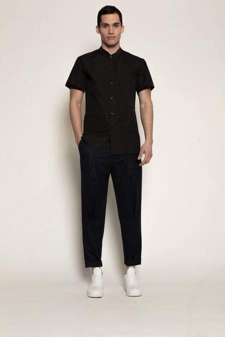 Men's Kenneth Ning Pleated Grosgrain Rib Baseball Shirt in Black