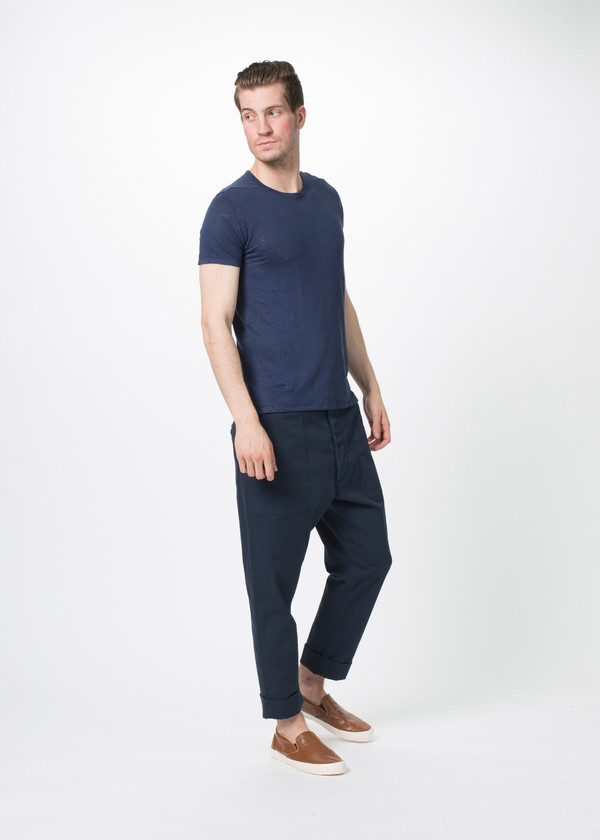 Men's Wooster + Lardini Cropped Cuff Trouser