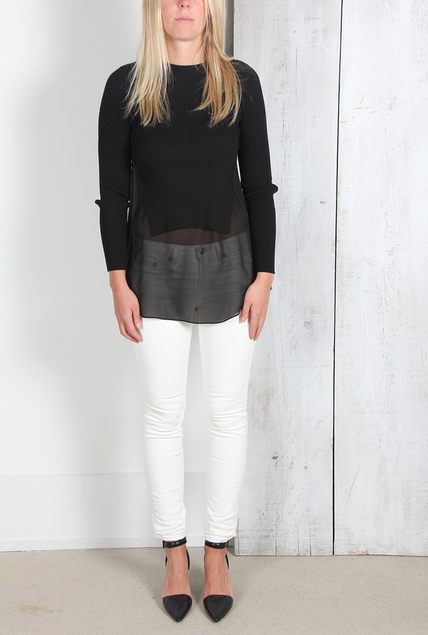 ALEXANDER WANG RIB KNIT PULLOVER WITH SILK SHIRTTAIL