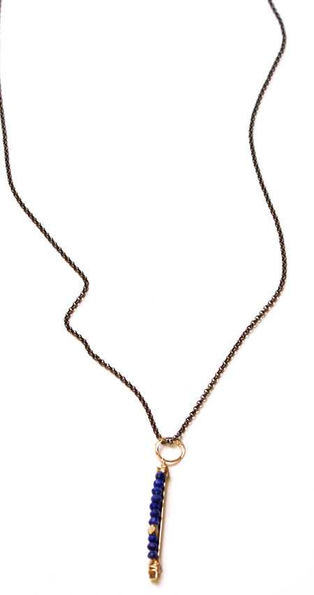 Bloom Long Athenian Lapis  Bar Necklace