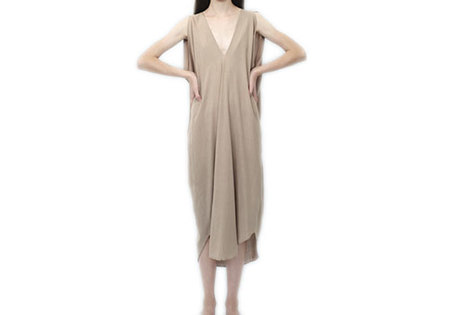 7115 BY SZEKI ORIGAMI SILK DRESS - SAND