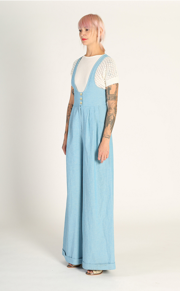 Kurt Lyle Olivia Suspender Jumpsuit - 1970s Denim