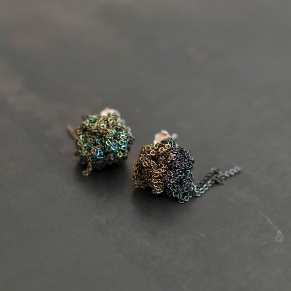 Arielle De Pinto 2-Tone Bead Earrings Charcoal/Army