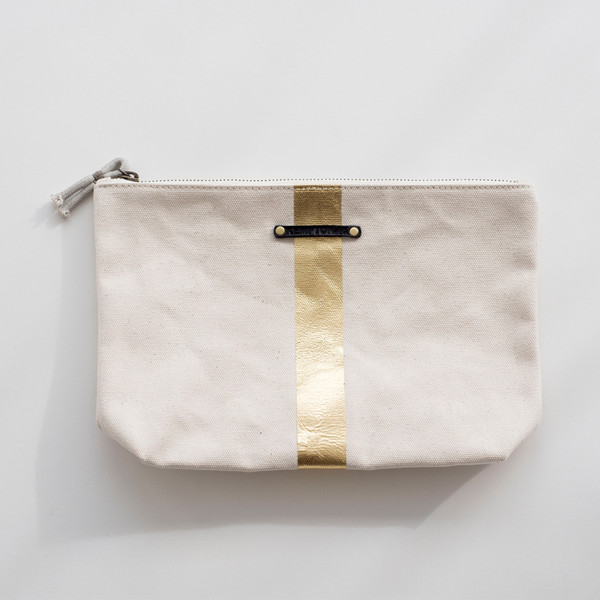 Kempton & Co Medium Ecru/Gold Stripe Pouch