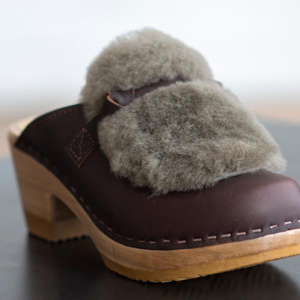 No. 6 Fur Slide Clog on Mid Heel - SOLD OUT