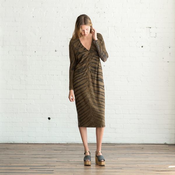 Raquel Allegra Signature Jersey Long Sleeve V Neck Dress - SOLD OUT