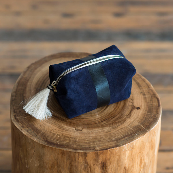 Kempton & Co Small Suede Stripe Tassel Cosmetic Case Navy