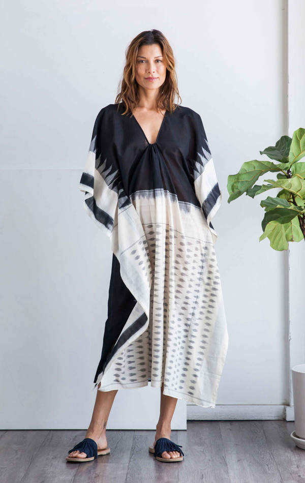 Two New York Ikat caftan with white front