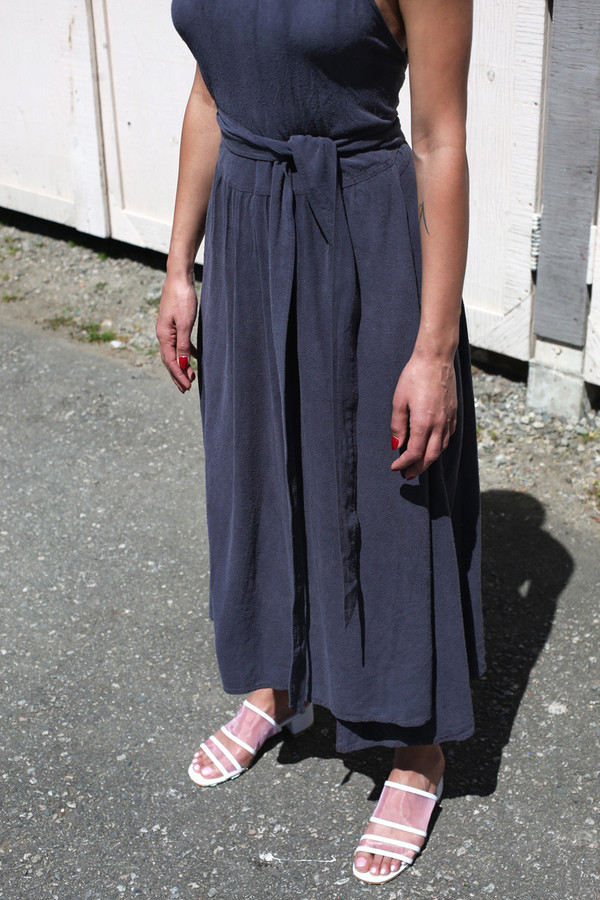 BLACK CRANE JERSEY LONG DRESS