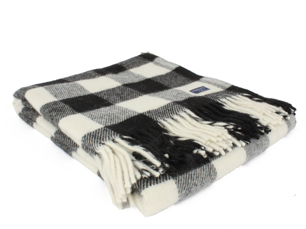 Faribault Buffalo Check Wool Throw - Black/White