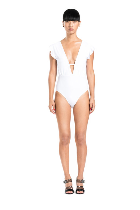 BETH RICHARDS Sophia One Piece - White PLUNGING V-NECK ONE PIECE WITH RUFFLE DETAIL ON SHOULDER