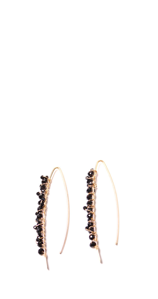 Black Onyx & Spinel Gold Paperclip Earrings