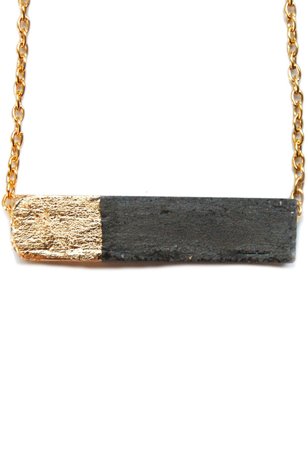 Maple + Mauve Gold Leaf Rectangle Necklace