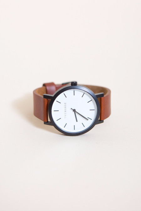 The Horse Original Leather Watch /  Matte Black, White Face, Dark Tan Band