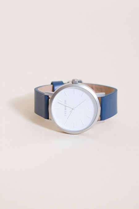 The Horse Original Leather Watch / Brushed Silver, White Face, Navy Band