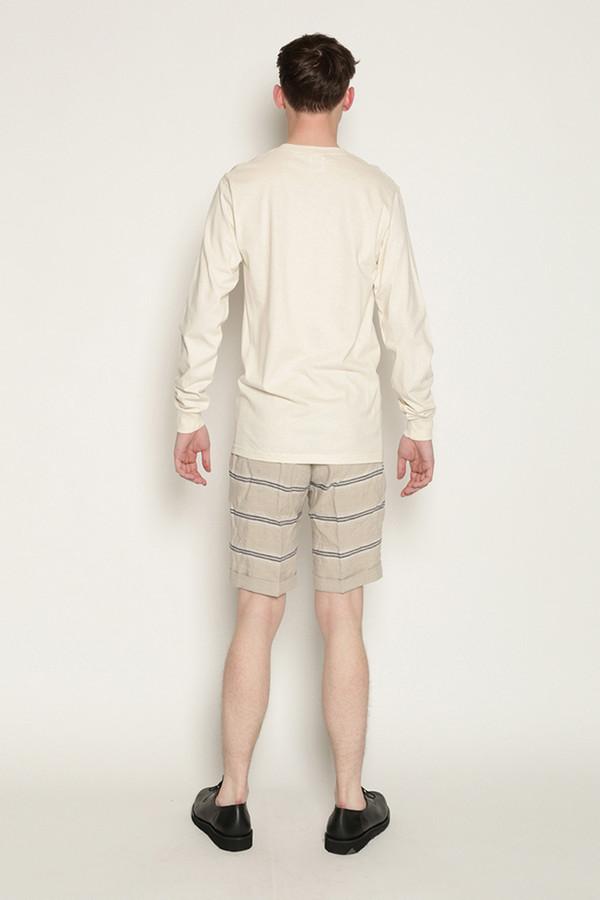 Men's Soulland Kreuzberg Shorts in Beige with Navy Stripes