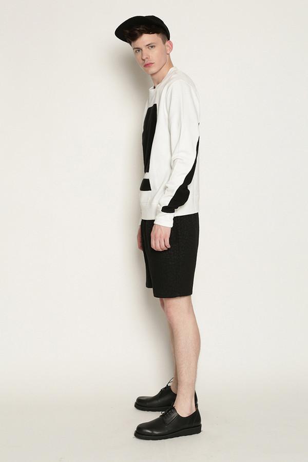 Men's Tourne De Transmission Splitbox Sweat in White/Black