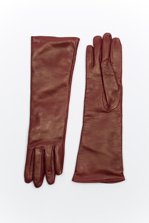 Samuji Long Leather Burgundy Gloves