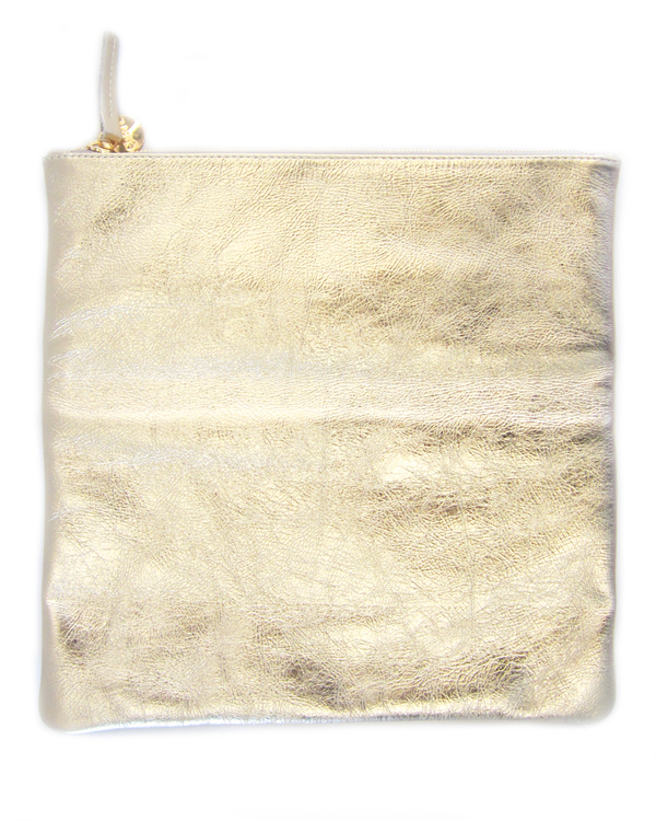 Clare V. Foldover Clutch - Metallic Gold