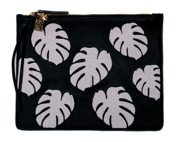 Lizzie Fortunato Black Palm Zip Pouch