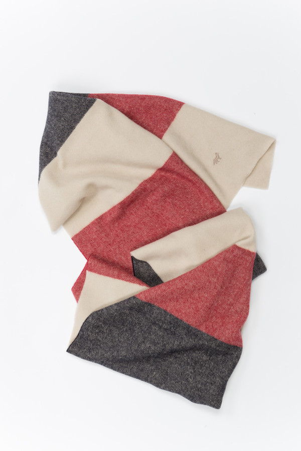 Maison Kitsune Scarf Navy/Red/Cream