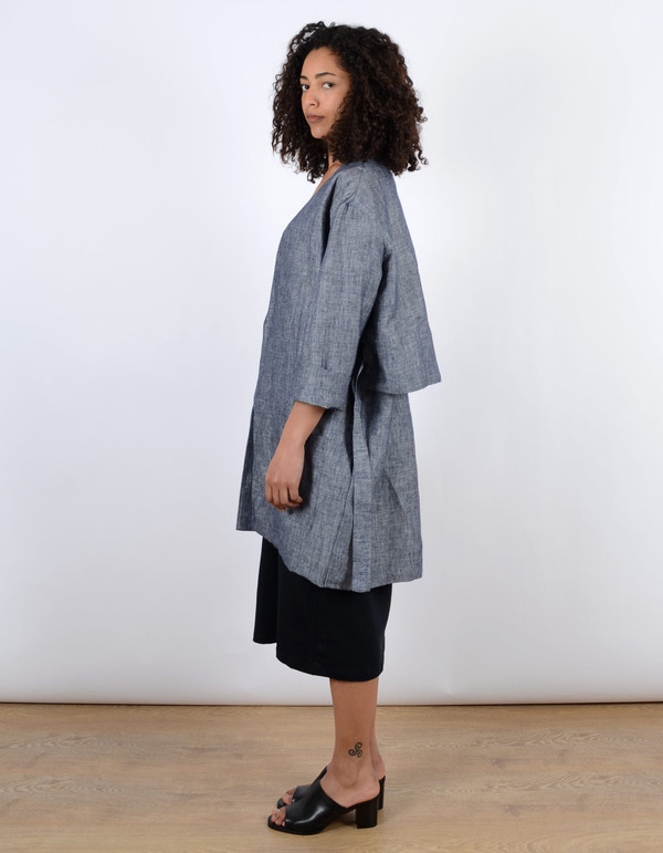 Ali Golden Linen Coat Blue Chambray