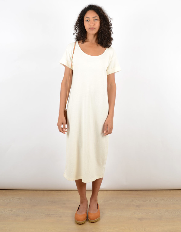 Ali Golden Roll Sleeve Tee Dress Cream