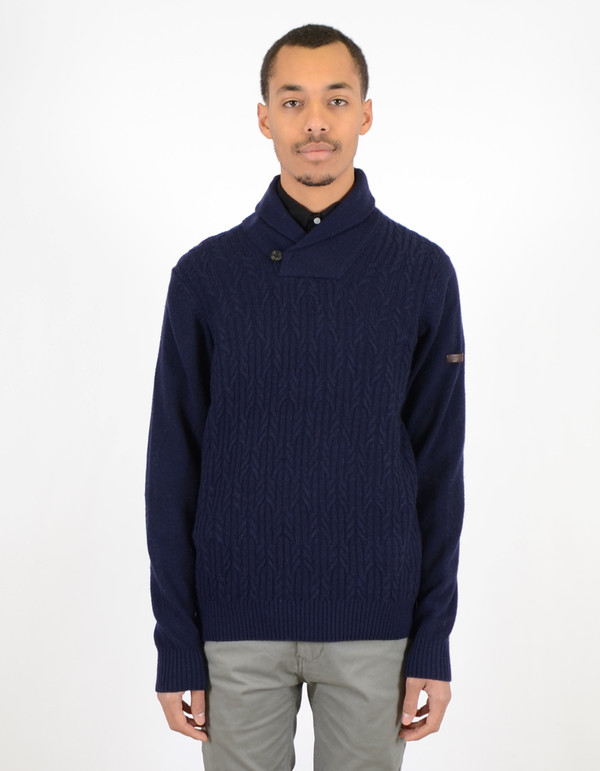 Ben Sherman Textured Shawl Collar Sweater Navy Blazer