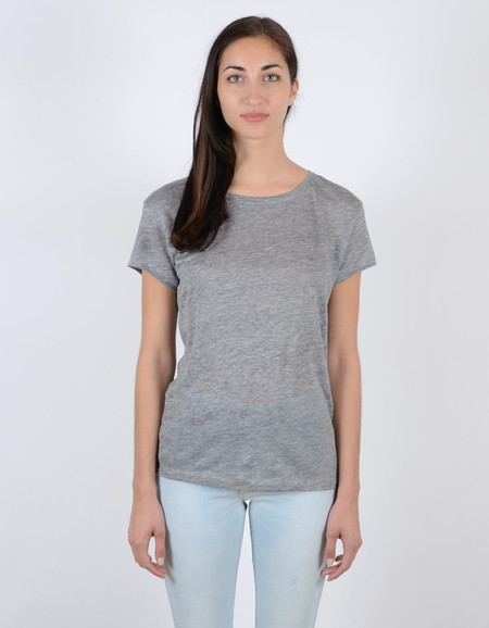 Filippa K Linen Tee Light Grey Melange