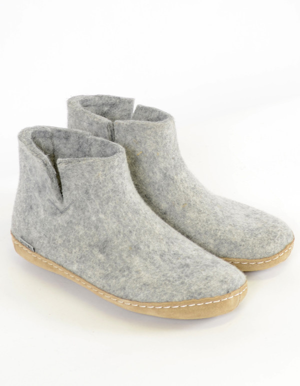 Glerups Women's Wool Boot Leather Sole Grey