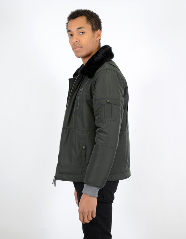 Men's Native Youth Fur Collar Flight Jacket