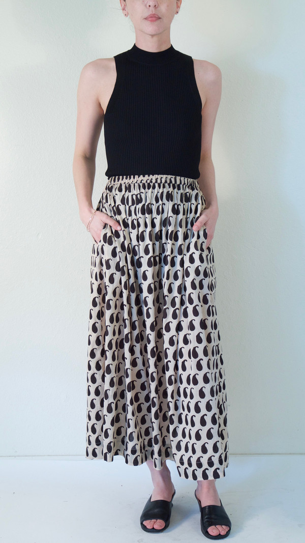 Pari Desai Monsoon Block Printed Skirt in Buttermilk/Ebony