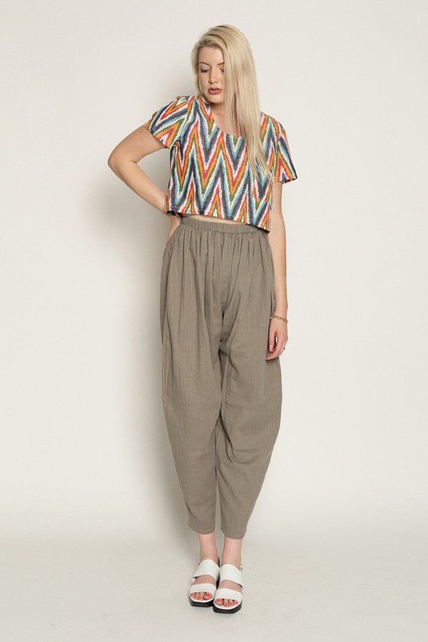Mary Meyer Woven Crop Tee in Multi