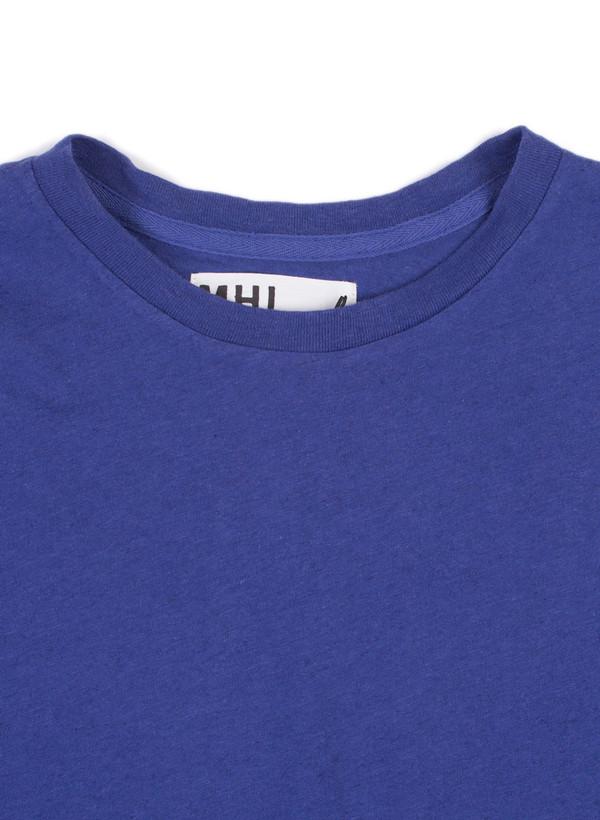 Men's MHL Margaret Howell Basic T-Shirt Cotton/Linen Jersey Indigo