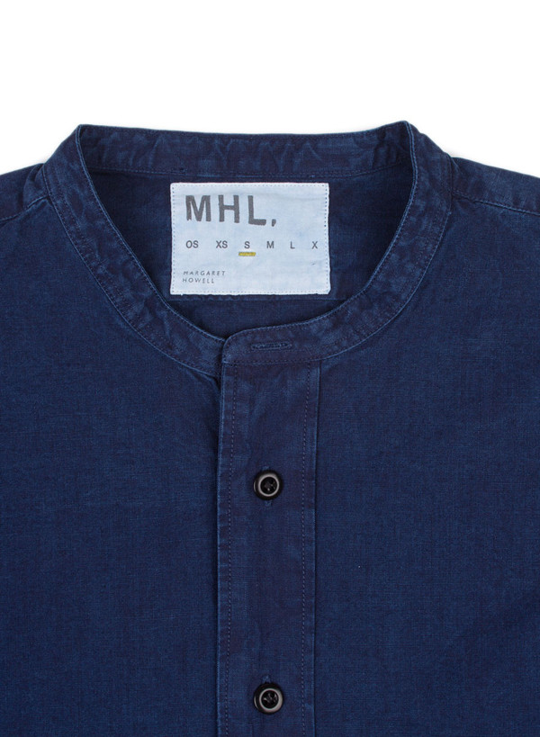 Men's MHL Margaret Howell Collarless Shirt Fine Denim Canvas Indigo