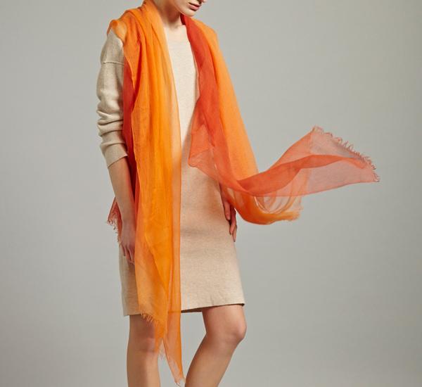 Ulla Shawl In Red Orange by Oyuna
