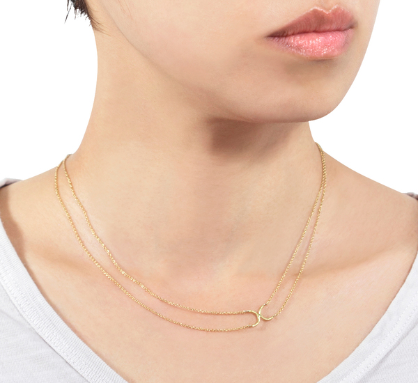 N3301 18K Double Side Crescent Necklace by Satomi Kawakita