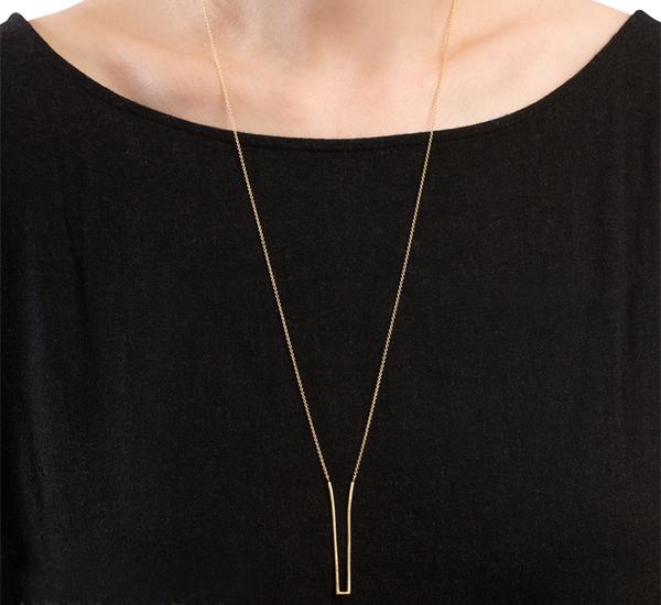 Satomi Kawakita N2601 Geometric Deep V 18K Chain Link Necklace