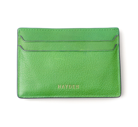 Hayden Leather Green Money Clip Card Case