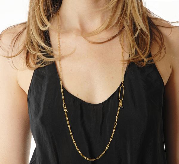 Rosanne Pugliese 22K Modern Link Chain With Black Diamond