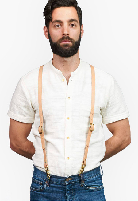 Natural Leather Suspenders