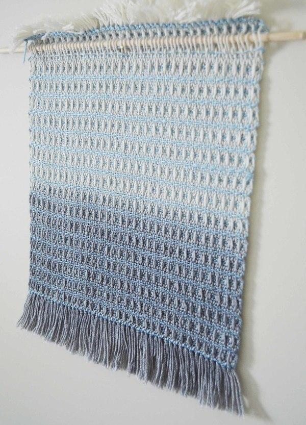Ana Isabel Textiles Indigo Waffle Weave Wall Hanging