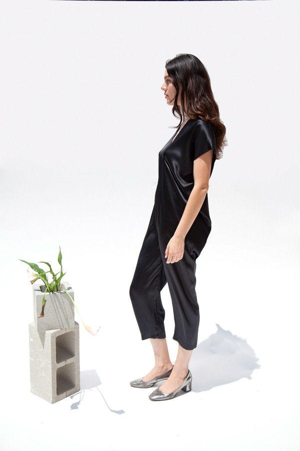 Miranda Bennett Everyday Jumpsuit, Silk Charmeuse in Black