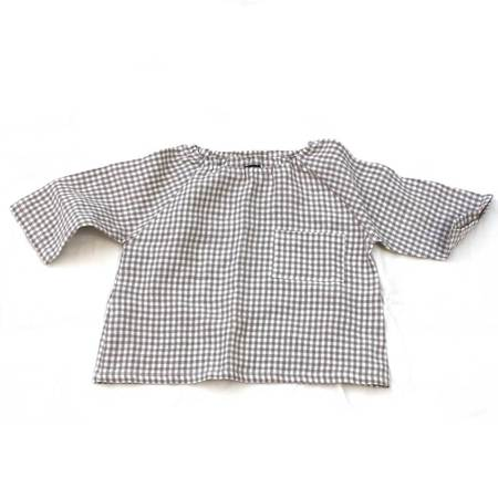 pietsie Marais Shirt in Biscuit Check Linen