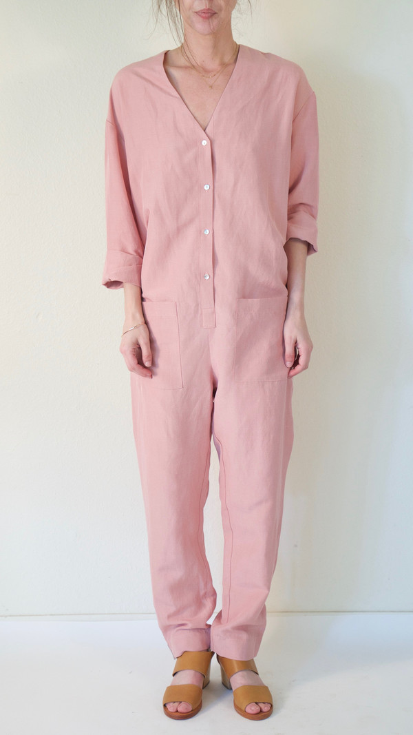 Horses Atelier V-Neck Patch Pocket Jumpsuit in Pink