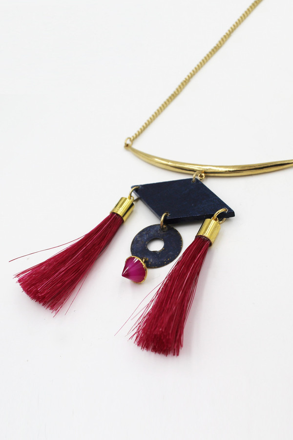 Sheila B Pink Horsehair Necklace