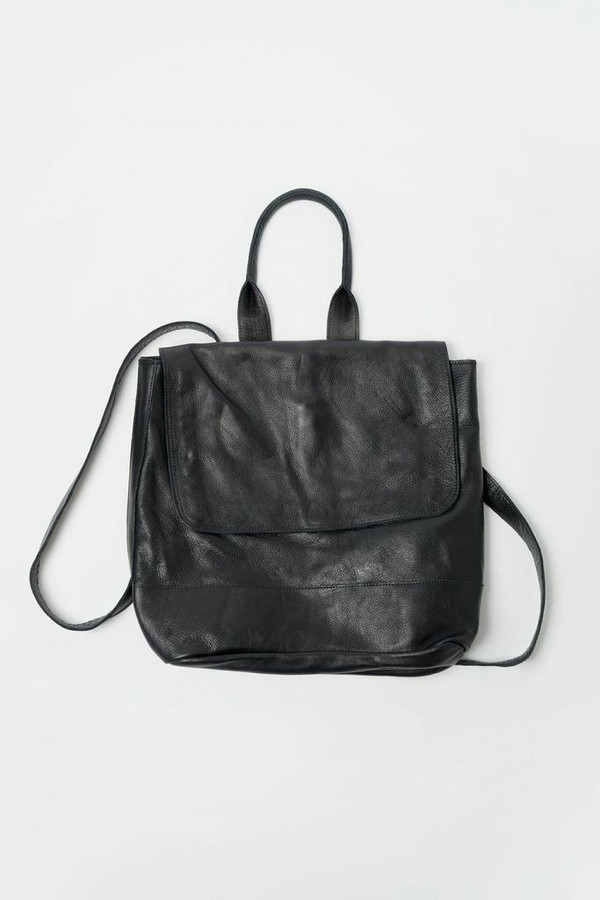 Clyde Leather Room Backpack - Black