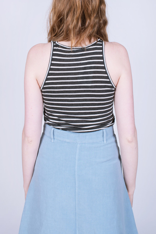 The Lady & the Sailor Jersey Tee Charcoal Stripe