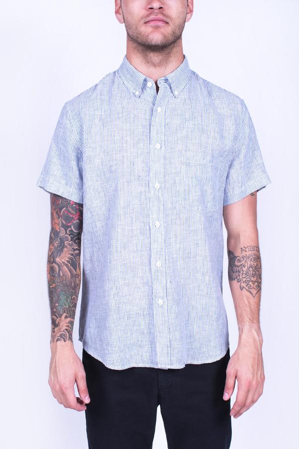 Men's Corridor Linen Mini Stripe Short Sleeve